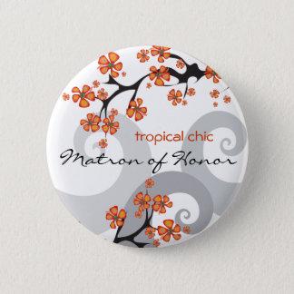 Badge Rond 5 Cm Fleurs tropicales de DAME DE HONNEUR épousant le