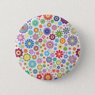 Badge Rond 5 Cm Flower power heureux
