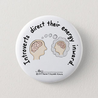 Badge Rond 5 Cm Fondements introvertis : Bouton blanc centripète