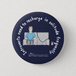 Badge Rond 5 Cm Fondements introvertis : Bouton bleu-foncé de