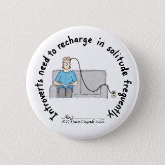 Badge Rond 5 Cm Fondements introvertis : Bouton de blanc de