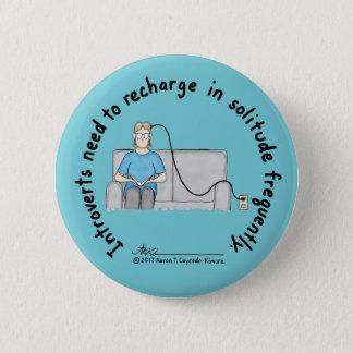 Badge Rond 5 Cm Fondements introvertis : Bouton de bleu de