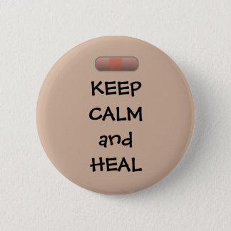 Badge Rond 5 Cm Gardez le calme et guérissez