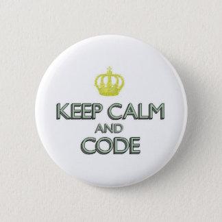 Badge Rond 5 Cm Gardez le calme et le code