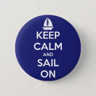 Badge Rond 5 Cm Gardez le calme et naviguez sur le bouton bleu de