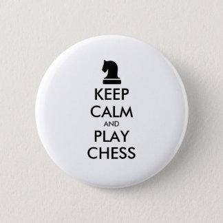 Badge Rond 5 Cm Gardez les boutons de pinback d'échecs de calme et