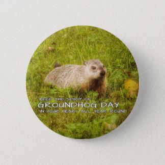 Badge Rond 5 Cm Gardez l'esprit du bouton de jour de Groundhog