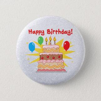 Badge Rond 5 Cm gâteau de joyeux anniversaire avec trois bougies