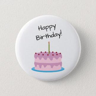 Badge Rond 5 Cm Gâteau de rose de joyeux anniversaire