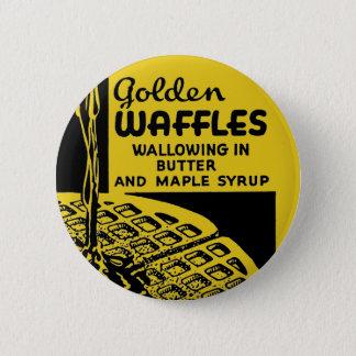 Badge Rond 5 Cm Gaufres d'or se vautrant en beurre