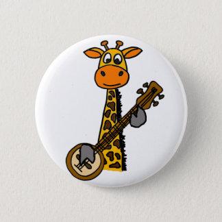 Badge Rond 5 Cm Girafe drôle jouant l'art de banjo