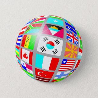Badge Rond 5 Cm Globe des drapeaux