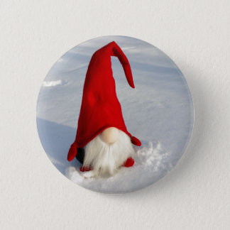 Badge Rond 5 Cm Gnome scandinave de Noël