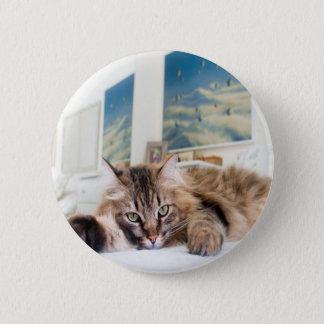 Badge Rond 5 Cm Goupille Cat