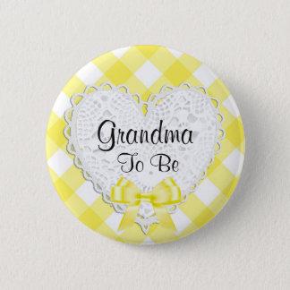 Badge Rond 5 Cm Grand-maman à être bouton jaune de baby shower