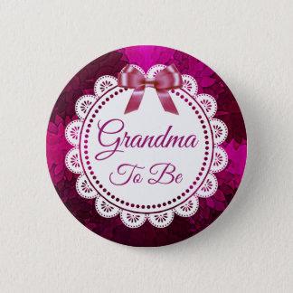 Badge Rond 5 Cm Grand-maman à être bouton magenta de baby shower