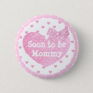 Badge Rond 5 Cm Grand-maman à être bouton rose de baby shower de