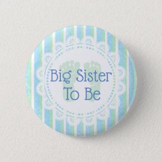 Badge Rond 5 Cm Grande soeur à être bouton de baby shower de vert