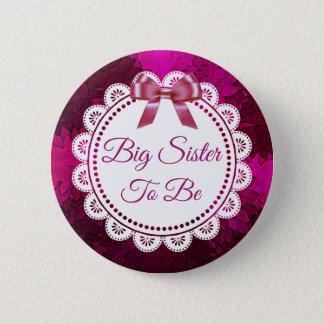 Badge Rond 5 Cm Grande soeur à être bouton magenta de baby shower