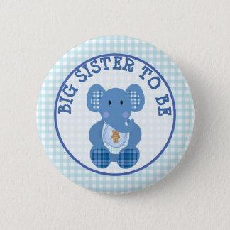 Badge Rond 5 Cm Grande soeur à être éléphant de bleu de bouton de