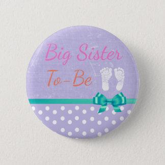 Badge Rond 5 Cm Grande soeur d'arc pourpre à être bouton de baby