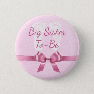 Badge Rond 5 Cm Grande soeur d'arc rose à être bouton de baby