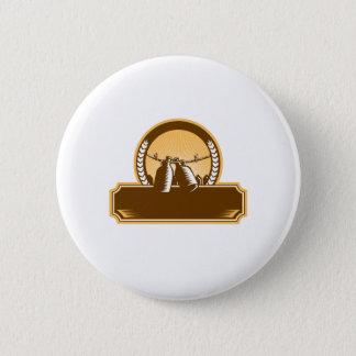 Badge Rond 5 Cm Gravure sur bois en cercle de clôture de corde à