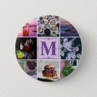 Badge Rond 5 Cm Grille pourpre de photo d'été de ressort