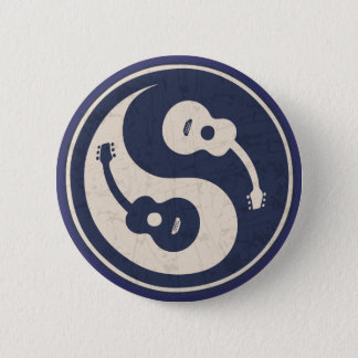 Badge Rond 5 Cm Guitare Yang - bleu