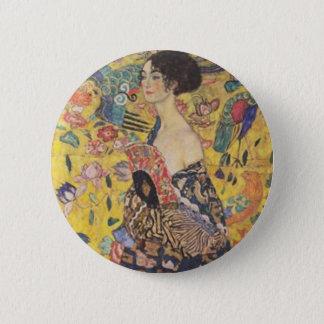 Badge Rond 5 Cm Gustav Klimt - Madame With Fan Painting