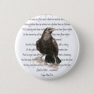 Badge Rond 5 Cm Halloween, Edgar Allen Poe, Raven, plus jamais