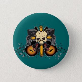 Badge Rond 5 Cm Haut-parleurs de guitares de crâne