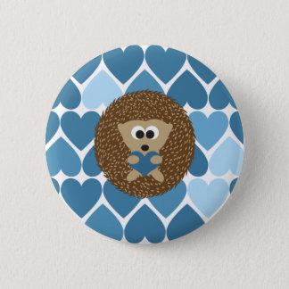 Badge Rond 5 Cm Hérisson et coeurs bleus