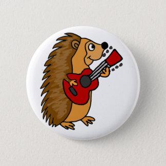 Badge Rond 5 Cm Hérisson mignon jouant l'art de guitare