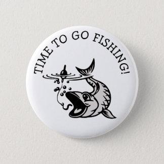 Badge Rond 5 Cm Heure d'aller pêcher le bouton de pêcheur