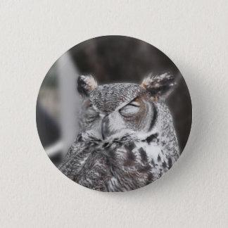 Badge Rond 5 Cm Hibou avec le sommeil clôturé par yeux au cours de
