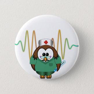Badge Rond 5 Cm hibou d'infirmière