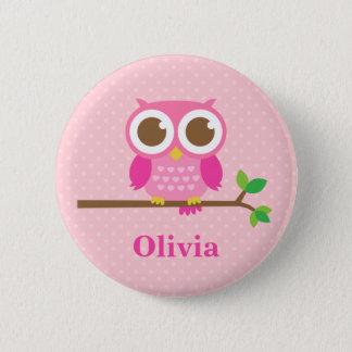 Badge Rond 5 Cm Hibou rose Girly mignon sur la branche pour des