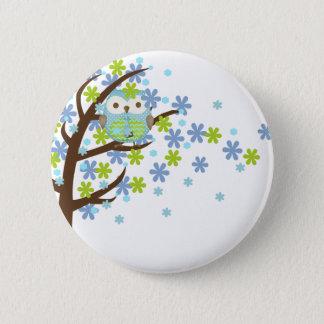 Badge Rond 5 Cm Hibou venteux bleu d'arbre