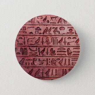 Badge Rond 5 Cm Hiéroglyphes égyptiens antiques rouges