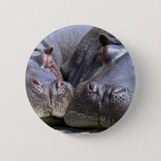 Badge Rond 5 Cm Hippopotame