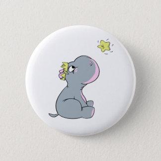 Badge Rond 5 Cm Hippopotame et étoile !