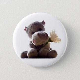 Badge Rond 5 Cm Hippopotame heureux