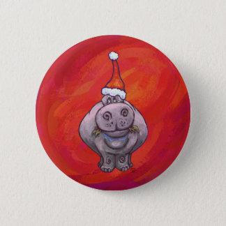 Badge Rond 5 Cm Hippopotame mignon dans le casquette de Père Noël