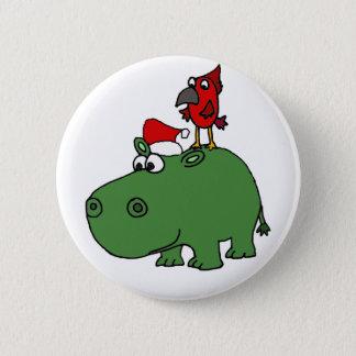 Badge Rond 5 Cm Hippopotame vert drôle de Noël