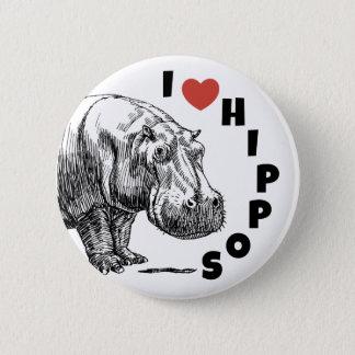 Badge Rond 5 Cm Hippopotames du coeur I - goupille d'amants et de