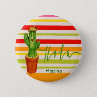 Badge Rond 5 Cm Hola bonjour rayures mexicaines de sourire d'un
