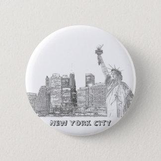 Badge Rond 5 Cm Horizon de Manhattan et la statue de la liberté