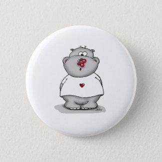 Badge Rond 5 Cm Howie le petit hippopotame - hippopotame