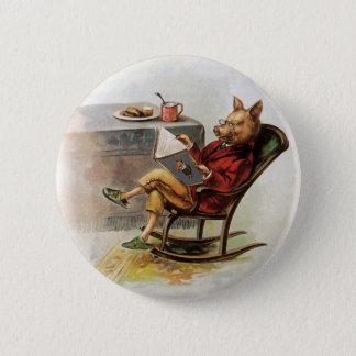 Badge Rond 5 Cm Humour vintage, porc dans la chaise de basculage